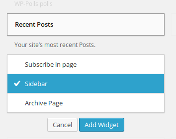 Choose where to add the Recent Posts widget.