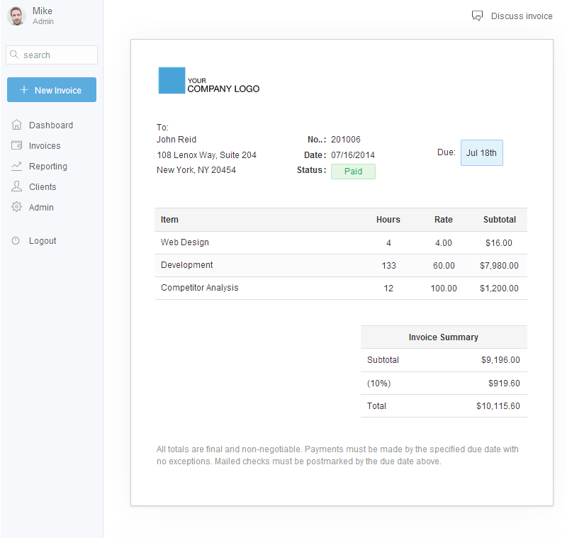 Anchor Free Client Management Invoicing App For Freelancers - Stripe invoice pdf